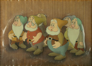 Bashful, Doc, Sneezy, Happy, Dopey, and Sleepy production cel from Snow White and the Seven Dwarfs