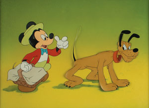 Mickey Mouse and Pluto production cel from Mickey and the Seal