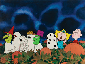 The Peanuts gang limited edition cel from It's the Great Pumpkin, Charlie Brown signed by Bill Melendez