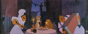 Lady, Tramp, Tony, and Joe limited edition cel from Lady and the Tramp