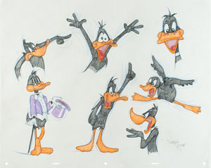 Daffy Duck model sheet original drawing by Virgil from Ross