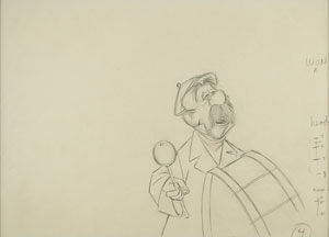The Pearly Band drummer production drawing from Mary Poppins