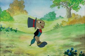 Jiminy Cricket production cel from The Wonderful World of Disney