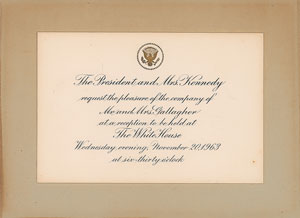 John and Jacqueline Kennedy Reception Invitation