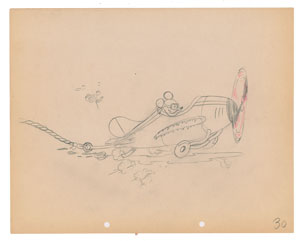 Mickey Mouse production drawing from The Mail Pilot