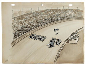 Racetrack production cel and production background from Betty Boop's Ker-Choo