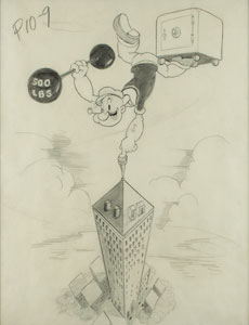 Popeye production poster art drawing from Doing Impossikible Stunts