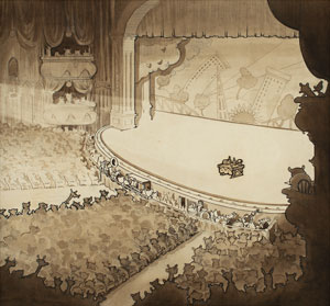Theater stage production background from the Betty Boop cartoon Silly Scandals