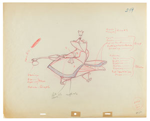 Queen of Hearts production drawing from Alice in Wonderland