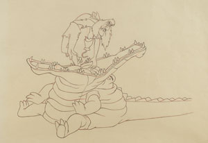 Captain Hook and Tick-Tock the Crocodile production drawing from Peter Pan