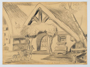 Frank Follmer concept drawing of Snow White's cottage from Snow White and the Seven Dwarfs