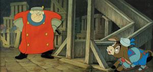 Coachman and donkey mini-pan key master background set-up from Pinocchio