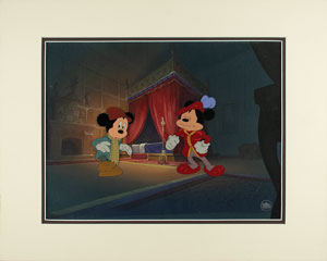 Mickey Mouse and the Prince production cel and production background from The Prince and the Pauper