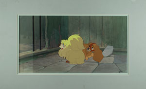 Lady and Peg production cels and pan production background from Lady and the Tramp