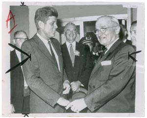 John F. Kennedy and Harry S. Truman Original Wirephoto