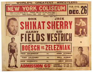 New York 1933 Professional Wrestling Poster