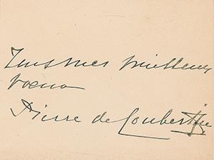 Pierre de Coubertin Signature
