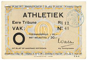 Tug Wilson's Amsterdam 1928 Summer Olympics Ticket