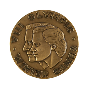 Squaw Valley 1960 Winter Olympics Unawarded Bronze Winner's Medal and Case