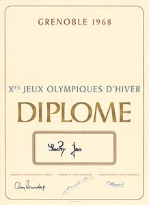 Grenoble 1968 Winter Olympics Silver Medal Winner's Diploma