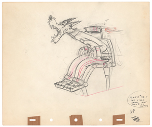 Pig and Wolf production drawings from The Practical Pig