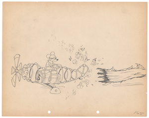 Mickey Mouse production drawings from The Mail Pilot