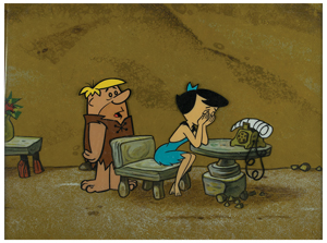 Barney and Betty Rubble key master background set-up from The Flintstones