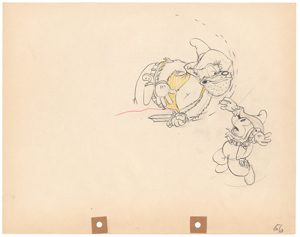 Mickey Mouse and Pegleg Pete production drawing from Two-Gun Mickey