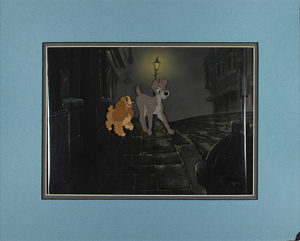 Lady and Tramp production cels and production background from Lady and the Tramp