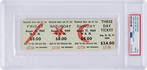 Woodstock Music and Art Fair Unused Three Day Ticket - PSA GEM MINT 10