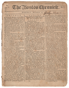 American Revolution: First Issue of Loyalist Boston Chronicle Newspaper
