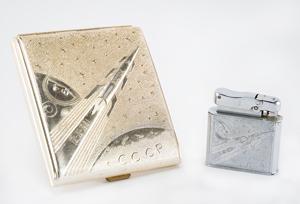 Yuri Gagarin Commemorative Lighter and Cigarette Case