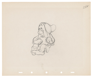 Sneezy production drawing from Snow White and the Seven Dwarfs