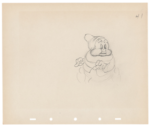 Happy production drawing from Snow White and the Seven Dwarfs