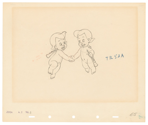 Two Cherubs production drawing from Fantasia