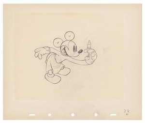Mickey Mouse production drawing from The Worm Turns