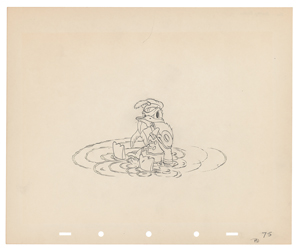 Donald Duck production drawing from Mickey's Circus