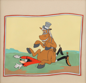 Goofy and Horse production cel and production background from How to Ride a Horse