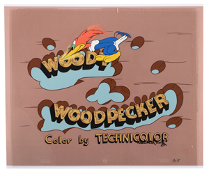 Woody Woodpecker title production cels from The Woody Woodpecker Show signed by Walter Lantz