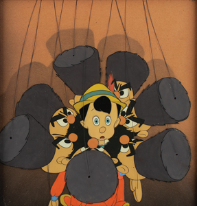 Pinocchio and Cossack puppets production cel from Pinocchio