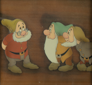 Doc, Sneezy, and Bashful production cels from Snow White and the Seven Dwarfs