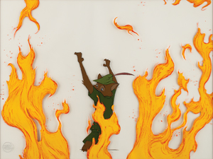 Robin Hood and flames production cels from Robin Hood