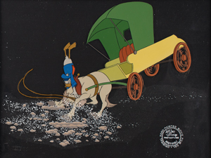 Donald Duck and horse production cels from Mickey's Christmas Carol