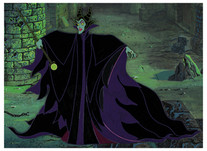 Eyvind Earle pan production background and production cel of Maleficent from Sleeping Beauty