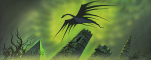 Eyvind Earle concept painting of Maleficent from Sleeping Beauty