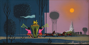 Eyvind Earle concept painting of the Coach and Castle from Sleeping Beauty