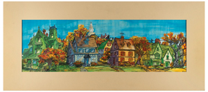 Walt Peregoy hand-painted pan production background from 101 Dalmatians
