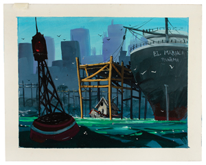 David Jonas concept background painting from Oliver & Company