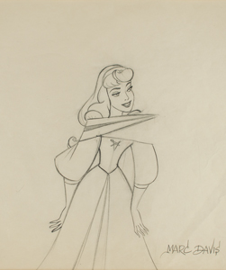 Marc Davis production drawing of Briar Rose from Sleeping Beauty
