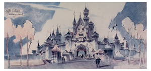 Herb Ryman print of Sleeping Beauty's Castle from the Disneyland Hotel